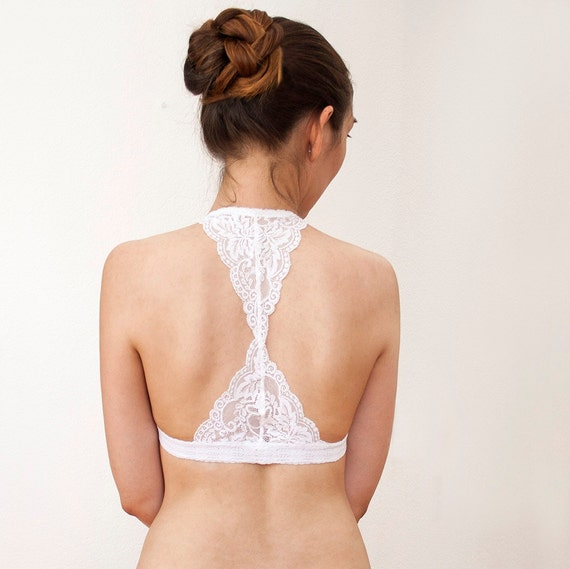 Triangle White Lace Bralette. Halter Wireless Bra Top. Bridal Lingerie