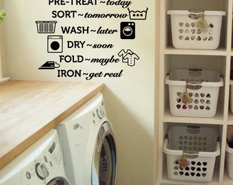 """Laundry Room Wash Dry Fold Iron Vinyl Wall Quote Sticker Decal 24""""w x 22""""h"""