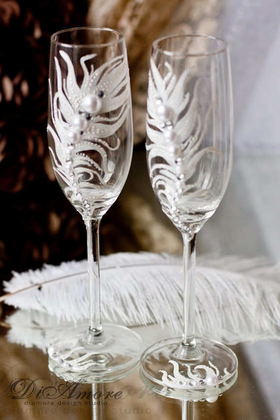 boho personalized wedding glasses feather champagne glasses bohemian