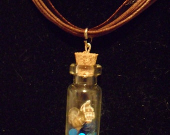 Mermaid Scales and Sea Shells Bottle Charm Necklace