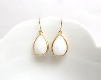 Waverly Earrings White Jade Earrings White Earring Opaque White Jewelry Gold Earrings Gold Wedding Jewelry Gold Bridesmaid Earrings Gift