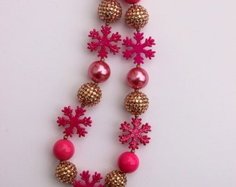 girls christmas chunky necklace pink gold snowflake christmas chunky necklace bubblegum necklace toddler holiday girls chunky bead necklace