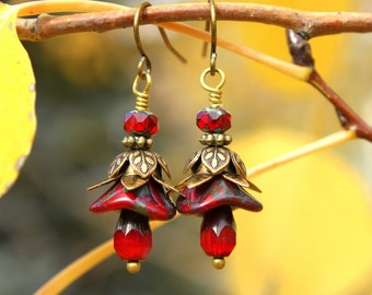 Red Victorian Earrings Rustic Brass Flowers Unique Boho Jewelry Cranberry Red Czech Glass Bead Earrings Vintage Style Nature Jewelry