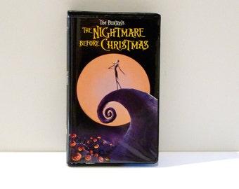Nightmare Before Christmas VHS Tape Vintage Jack Skellington Tim Burton VHS tape 1990s Movie Film Halloween Animated Sally