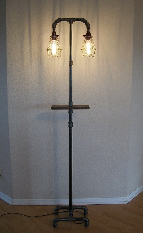 industrial floor lamp with shelf by splinterwerx on etsy. Black Bedroom Furniture Sets. Home Design Ideas