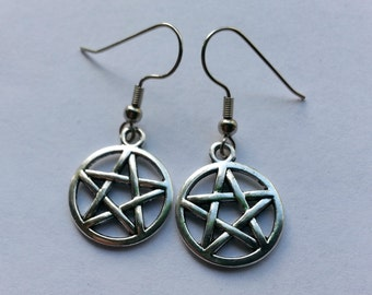 Silver Pentagram Earrings | Stainless Steel