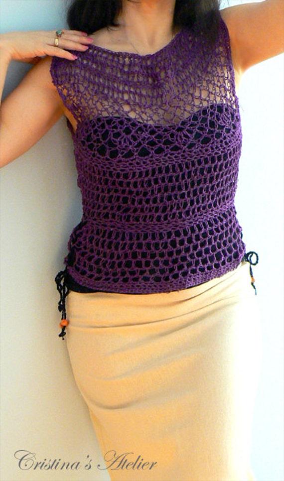 Purple crochet mesh tank top. Linen fishnet top- Women crochet blouse. Handmade crochet camisole. Fishnet crochet tank