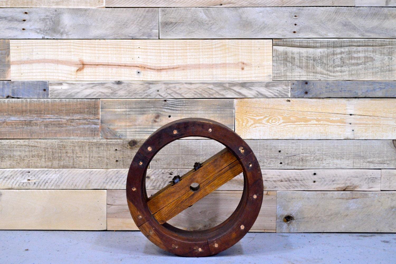 Vintage Wood Pulley Large Pulley Wheel Antique Wood Wheel