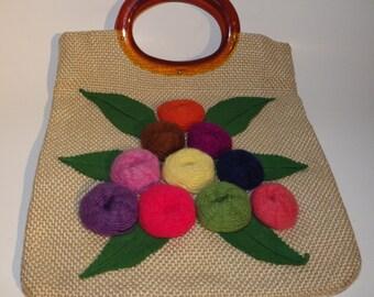 "1960s Vintage Handbag Burlap w ""Tortoise Shell"" Round Handles & Applique Yarn Flowers"
