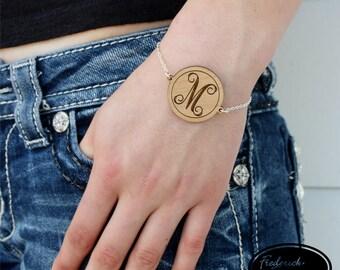 Wood Script Initial Bracelet - Custom Engraved Initial Bracelet - Personalized Wood Bracelet - BR-08