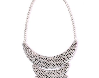 Silver necklace, silver bib necklace, silver statement necklace