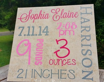 Personalized Birth Announcement Tile 12 x 12