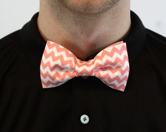 Handmade Coral and Light Pink Chevron Bow Tie