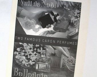 Vintage Caron Perfumes Ad 1930s, Nuit de Noel Bellodgia advert picture, Art Deco era advertising illustration