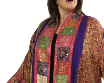Jacket Fuschia Purple Gold Phoenix Vintage Sari Silk Wearable Art Sizes 26 - 36