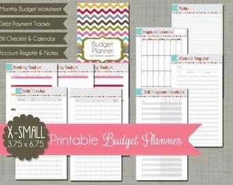 "X-Small {Printable} Budget Planner Set - Sized 3.75x6.75"" PDF"