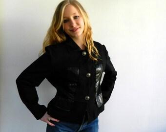 Elitelle, Paris, black jacket, Size M, French vintage, faux snake skin, vintage clothing, retro clothes, 80's fashion.