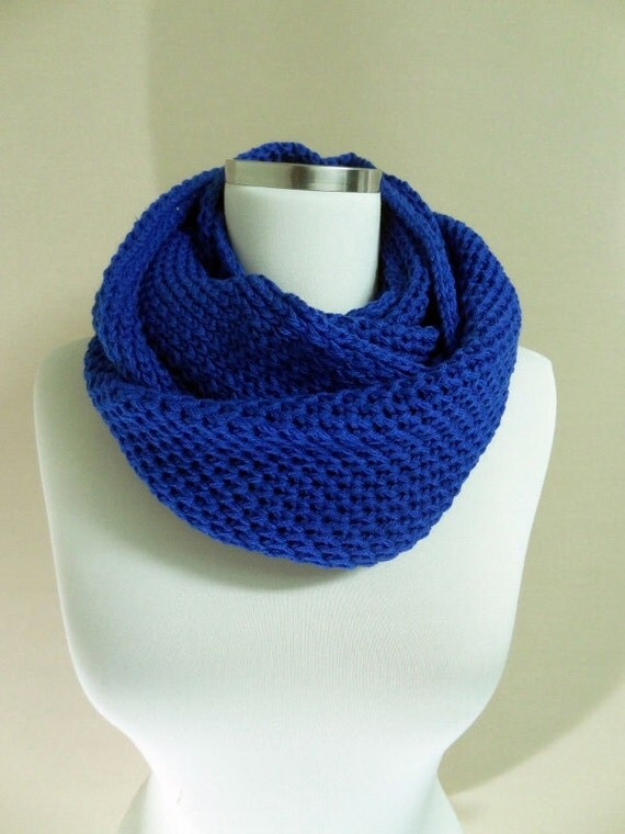 Blue Knit Infinity Scarf Hooded Cowl Wool Blend Scarf Men
