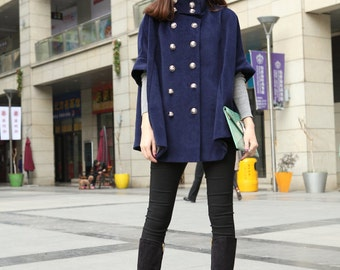 Plus Size Cape Wool Coat Double Breasted Blue Women Coats Woolen Outerwear Custom Made-WH073 M,L