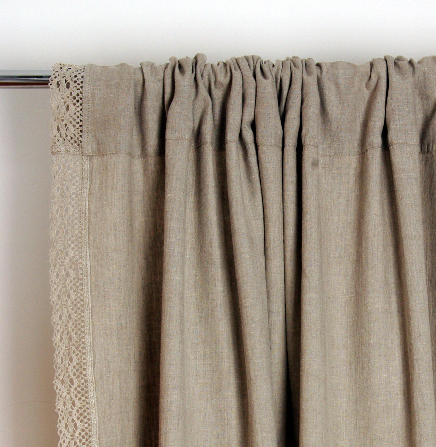 White linen panel/fiber flax. Window valance. Natural Linen Curtain Valance. Kitchen cafe curtains.