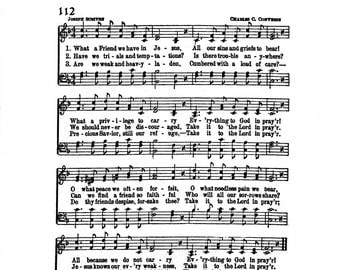 What a Friend We Have in Jesus Hymn Digital Sheet Music Home Decor Christian Inspirational Art Gift Do It Yourself Pastor Grandparent Mom