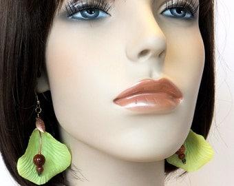 Lemon yellow silk petal earrings | Goldstone and copper drop earrings | Flower petal earring | Hypo-allergenic earrings
