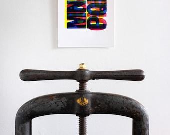 Letterpress - MNOPQR A4 Print