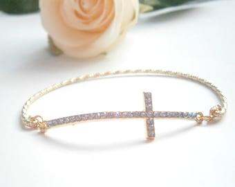 Sideways Cross Bracelets - Gold Bangle Bracelet - Blue Rhinestone Jewellery - Christian Jewelry - Pave Bracelets - Horizontal Cross