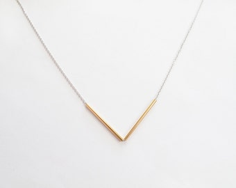 Gold Silver Bar Necklace - V Necklace - Everyday Jewelry - Minimalist Jewelry