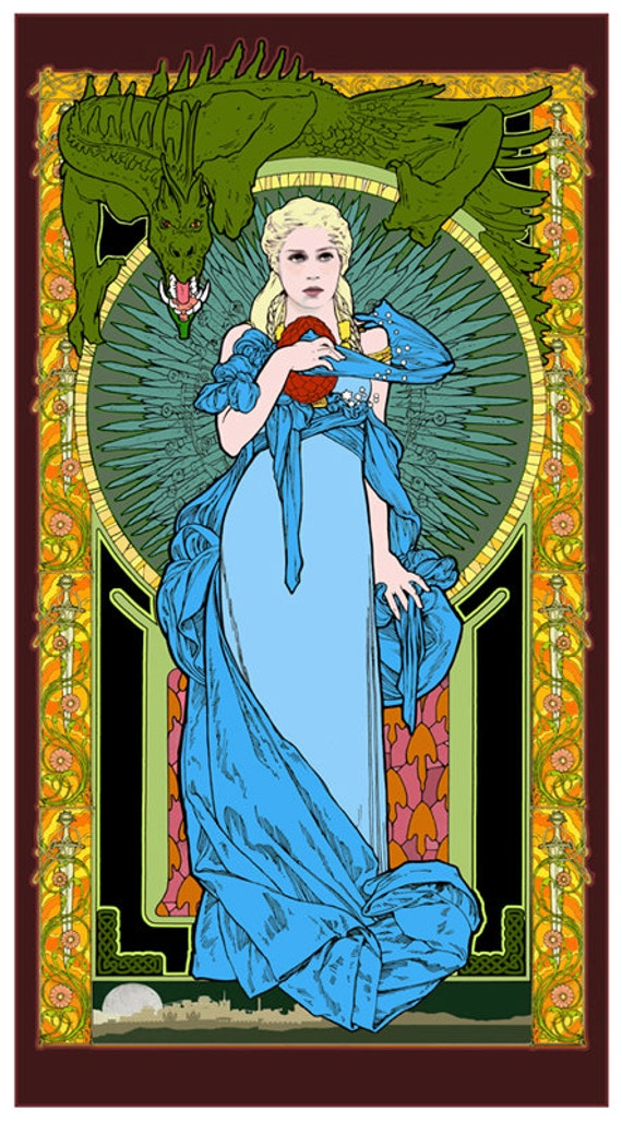 Game of Thrones Khaleesi Mother of Dragons art nouveau poster