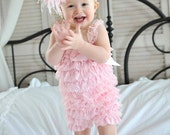 SET, Baby Girl Clothes, Pink Romper & Feather Headband,Baby Headband, Flower Girl Dress,Lace Petti Romper, Baby Romper, Newborn Girl Clothes