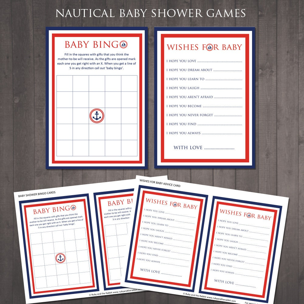 instant download nautical baby shower games baby bingo and