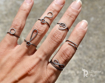 Question Mark Ring, Above Knuckle Ring Adjustable Mid Knuckle Finger Jewelry