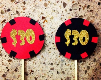 Casino Chip Cupcake Toppers ; Casino Themed Party ; Las Vegas Birthday Party ; 30th Birthday Decoration ; Casino Royale