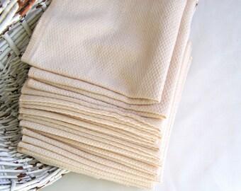 HoneyBee Natural Birdseye Unpaper Towels - one dozen - Unbleached, Reusable paper towel alternatives - You Choose One Thread Color