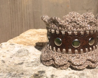 tooled leather bracelet - dark brown with bronze crochet edging optional white lace edging Steampunk Ren Faire Victorian