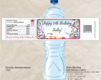 Birthday Streamers, Birthday Stickers, Water Bottle Label, 50th Birthday Party, Waterproof label, Custom Water Labels (Set of 20) (Y565)