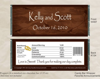 Fall Wedding Favors, Candy Bar Wrappers, Fall Favors, Party Favors, Personalized Favors, Wedding Bridal Shower (Set of 12) (W487)