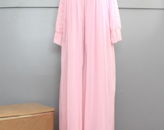 1960s Pink Peignoir Set. Strawberry Cream Chiffon Nightgown and Robe.