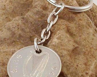 1969 5p Five Pence Irish Coin Keyring Key Chain Fob 48th Birthday