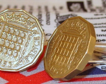 Boxed Pair Vintage British 1953 Threepence 3d Coin Cufflinks Wedding 64th  Birthday