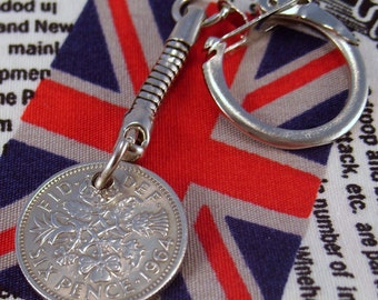Lucky 1964 6d Sixpence English Coin Keyring Key Chain Fob Queen Elizabeth II