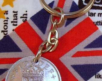 1954 Old English Shilling Coin Keyring Key Chain Fob Queen Elizabeth