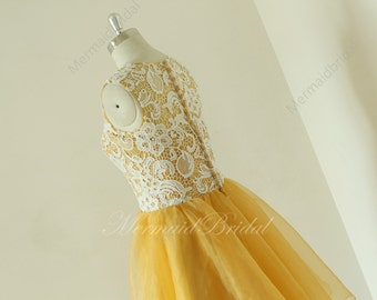 Vintage short lace gold prom dress, prom gowns, short organza prom dress, hocoming dress, party dresses