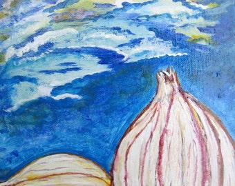 Original, Unique Acrylic Painting, Artwork of Garlic Cloves under Blue Sky, Garlic Art, signed by Artist