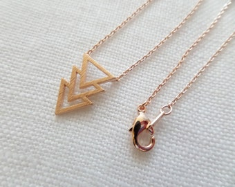 Tiny Gold or Rose gold chevron triangle necklace