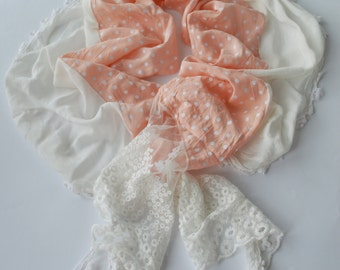 Ligt Salmon Dotted Fabric Scarf - Lace Scarf  - Soft Cotton Scarf - Cowl Scarf - Shawl Scarf     928