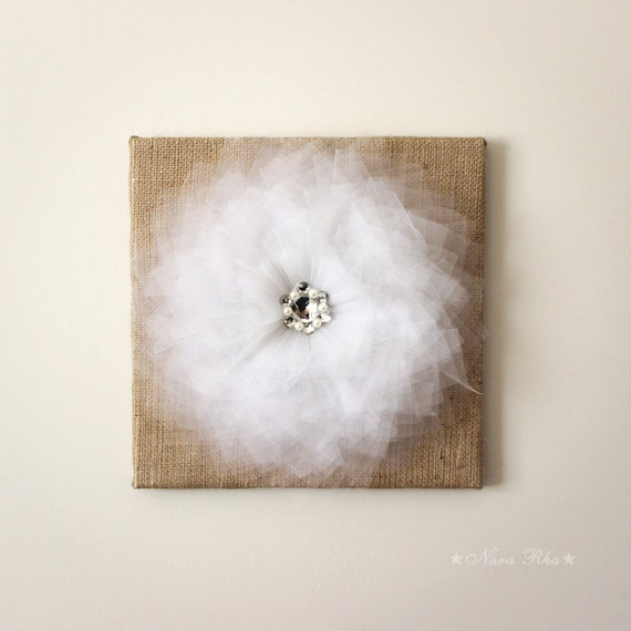 Rustic Burlap Wall Decor : Burlap wall decor white flower decoration by nararha