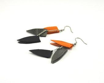 Leather modern earrings, bohemian earrings, long earrings, Long triangle earrings, Statement earrings, Dangle earrings, Girlfriend gift