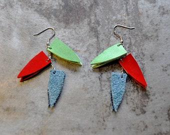 Unique earrings, Mum  earring gift, Statement earrings, Leather jewelry, Long triangle earrings, Multicolor earrings, Geometric,gift for mom